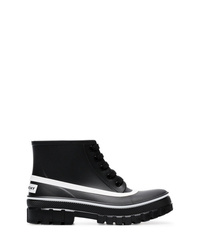 Givenchy Black Glaston Flat Lace Up Leather Ankle Boots
