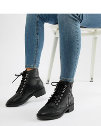 New Look Wide Fit Lace Up Flat Ankle Boot