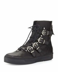 Stuart Weitzman Takeahike Leather Lace Up Boot Black