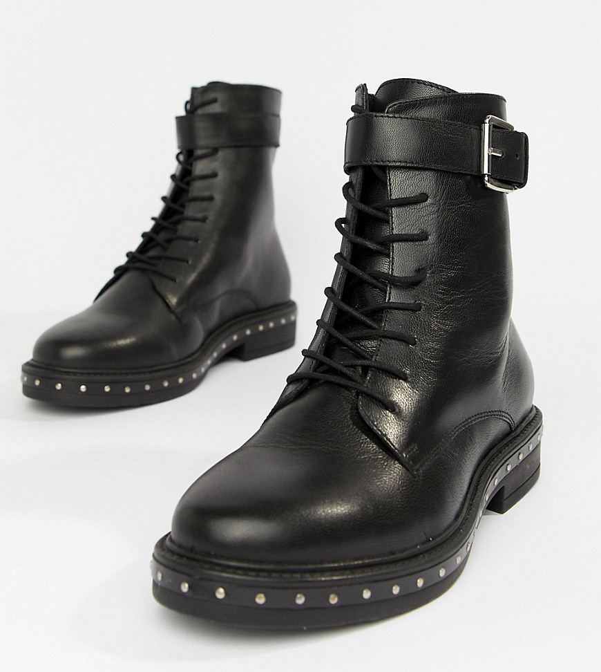 ASOS DESIGN Wide Fit Algebra Leather Lace Up Boots Leather