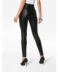 Sprwmn Black High Waisted Leather Leggings