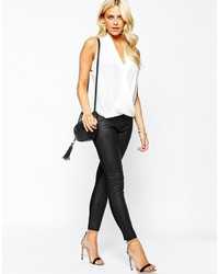 Oasis Faux Leather And Ponte Legging