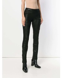 Haider Ackermann Floral Embroidered Leather Leggings