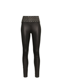 Sprwmn High Waisted Eyelet Detail Leather Leggings