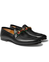 Gucci Brixton Webbing Trimmed Horsebit Collapsible Heel Leather Loafers