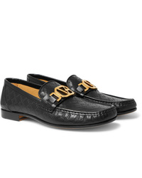 Versace Horsebit Logo Embossed Leather Loafers