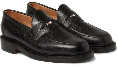 793013c22d9 ... Black Leather Loafers Thom Browne Pebbled Leather Penny Loafers ...