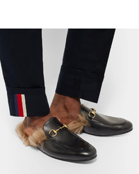 24c84454376 ... Gucci Princetown Horsebit Shearling Lined Leather Backless Loafers ...