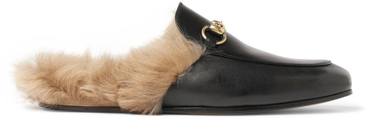 e4663f09d ... Gucci Princetown Horsebit Shearling Lined Leather Backless Loafers ...