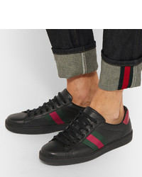 6fc703d51b7 ... Gucci Ace Snake Trimmed Leather Sneakers ...