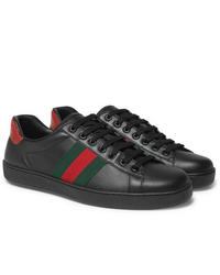 Gucci Ace Snake Trimmed Leather Sneakers