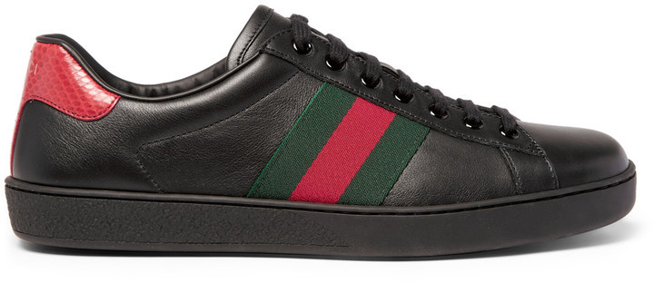 e86f9f34ed9 ... Black Leather Low Top Sneakers Gucci Ace Snake Trimmed Leather Sneakers  ...