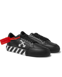 Off-White Suede Trimmed Full Grain Leather Sneakers