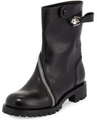 Alexander McQueen Skull Zip Around Leather Mid Calf Boot