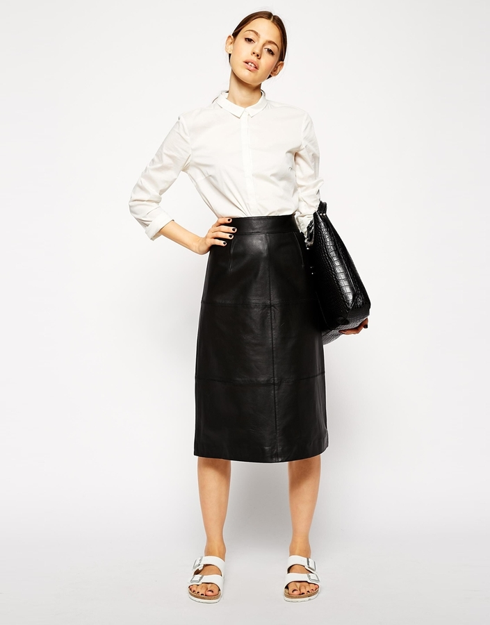 c72c6eb15448 Asos Collection Column Pencil Skirt In Leather, £136 | Asos ...