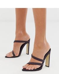 Missguided Pointed Heeled Sandals In Dark Grey