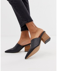 ASOS DESIGN Sloane Premium Leather Heeled Mules In Black