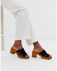 ASOS DESIGN Trick Heeled Mule Sandals In Black