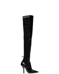 Fendi Black Rockoko 105 Leather And Fabric Over The Knee Boots
