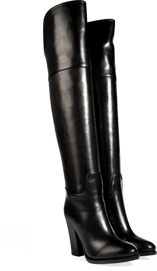 Ralph Lauren Collection Polished Leather Over The Knee Boots In ...
