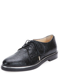 Jimmy Choo Crushed Shiny Leather Oxford Shoe
