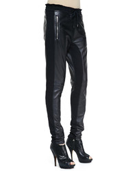 Faith Connexion Mixed Leather Fleece Pants Black