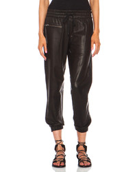 Pam gela perforated lambskin leather track pant in black medium 116506