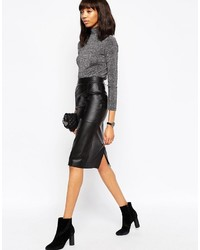 Asos Collection Midi Pencil Skirt In Leather