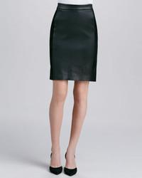 Vince Contrast Leathersuede Skirt Black