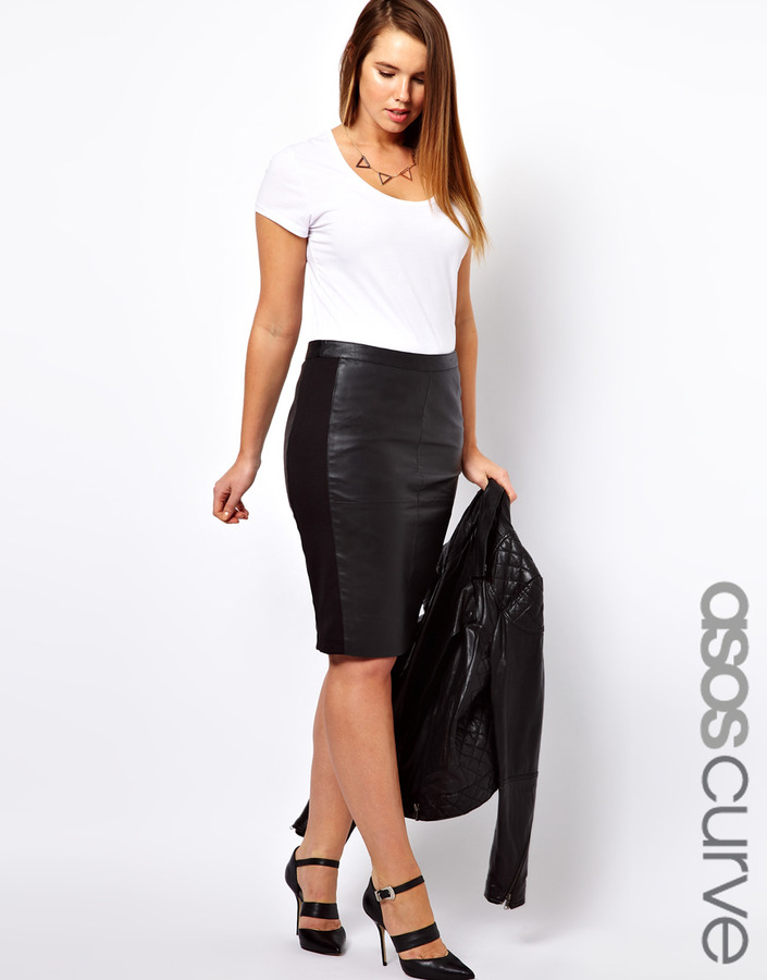 Asos Curve Curve Leather Pencil Skirt With Jersey Trim Gray ...