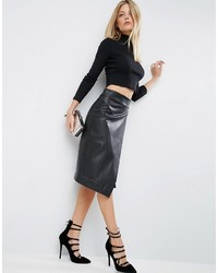 Asos Leather Look Wrap Pencil Skirt With Deep Waistband
