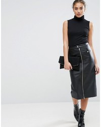 Asos Leather Pencil Skirt With Zip Pocket Detail