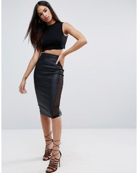 Asos Pencil Skirt In Faux Leather With Mesh Panel Detail