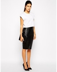 Love Pencil Skirt In Pu Black