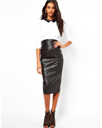 Asos Wasp Pencil Skirt In Leather