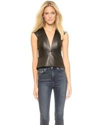 Leather plunge neck top medium 90741