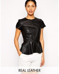 Muubaa aquila peplum leather shirt medium 202745