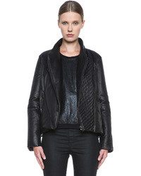 Helmut Lang Pitch Leather Puffer In Black