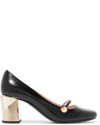 Fendi Rainbow Leather Mary Jane Pumps Black