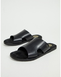 Base London Arena Sandals In Black Leather
