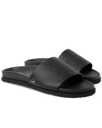Dunhill Cross Grain Leather Slides