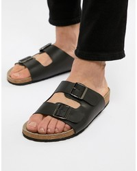ASOS DESIGN Sandals In Black Leather With