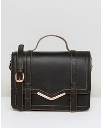 ASOS DESIGN V Bar Structured Satchel Bag