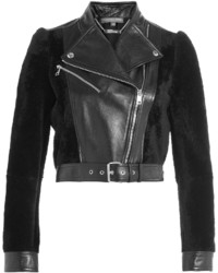 Alexander McQueen Cropped Leather Jacket With Shearling
