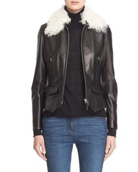 Belstaff Roxie Leather Jacket With Removable Genuine Shearling Collar