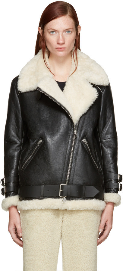Acne Studios Black Cracked Shearling Velocite Jacket