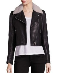 Doma Shearling Collar Leather Moto Jacket