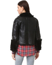 R 13 R13 Reversible Shearling Moto Jacket