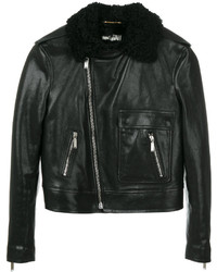 Saint Laurent Shearling Trim Leather Jacket