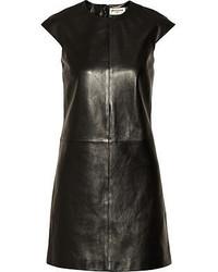 Black Leather Shift Dress